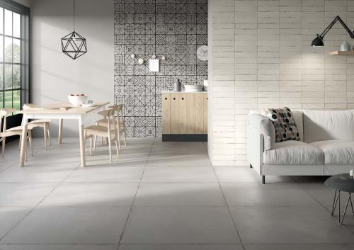 Ceramica-Fioranese Terraviva Cenere-90x90+Decoro-Segni-Cenere+Calce-7,5x30,5